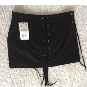 faux suede Zara lace up mini skirt